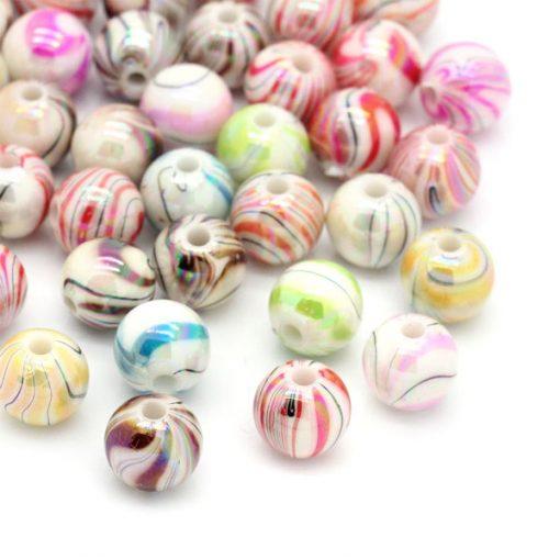 100 st runda randiga pärlor - 8 mm