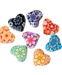 Lerpärlor - hjärtformade med blommig mönster
