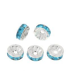 Strassrondeller - akrylpärlor 10 st 8 mm - Blå