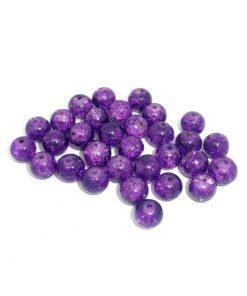 Lila Crackle glaspärlor 8 mm - 100 stycken
