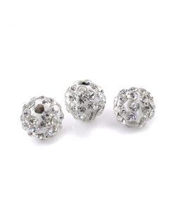 Vita Shamballa pärlor - pärlor med strass 6 mm