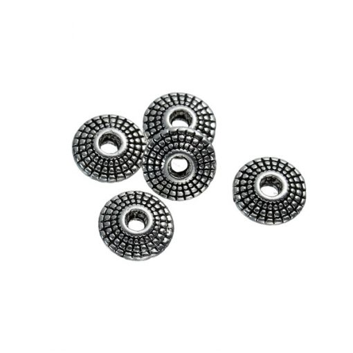 10 st metallpärlor 8 mm i antik silver