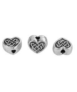 Metallpärlor i form av hjärta i antik silver - 7 mm 10 st