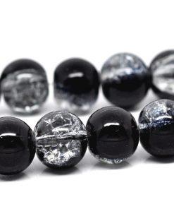 Svart och transparent Crackle glaspärlor 10 mm