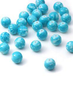 Rund pärlor - blå 10 mm - 100 st