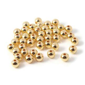 CCB plast pärlor guld rund 8 mm