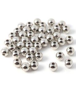 Runda silverfärgade CCB plast pärlor 8 mm