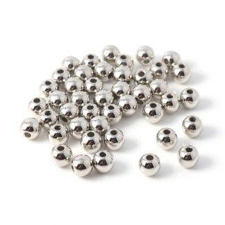 CCB plast pärlor silver rund 8 mm