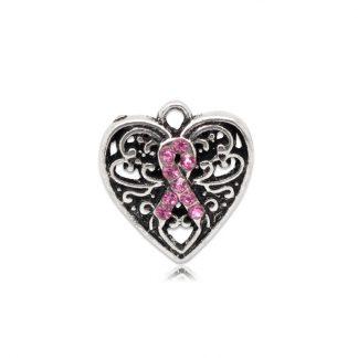 Hänge hjärta med rosa band