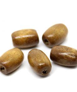 Ovala träpärlor - brun 50 stycken