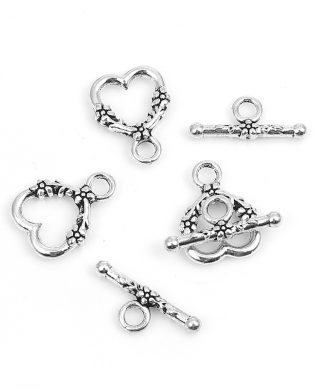 Smyckeslås - Togglelås - Hjärta med blommor