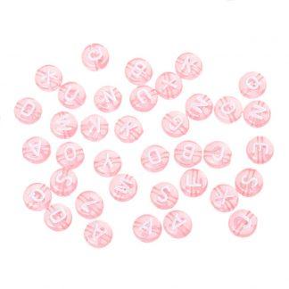 Rosa bokstavspärlor 100 stycken