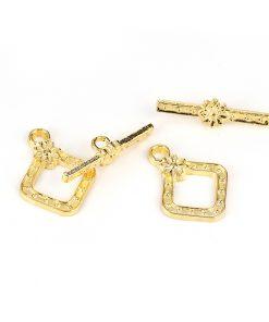 Smyckeslås - Toggle - Guld färg fyrkant
