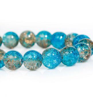 Blå crackle pärlor på sträng