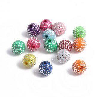 250 stycken runda plastpärlor med strass / glitter effekt