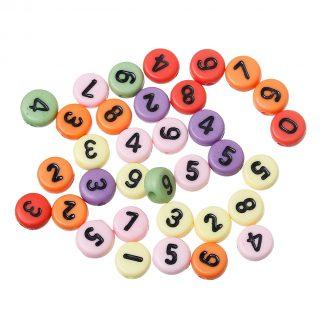 Pärlor med siffror - Blandade färger