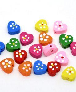 Pärlor hjärta - hjärtformade träpärlor 50 st