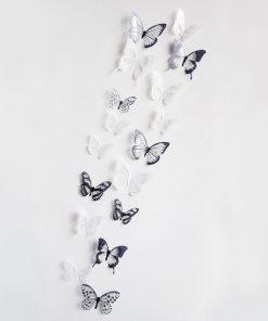 Dekor för vägg 3D fjärilar - Svart & vit