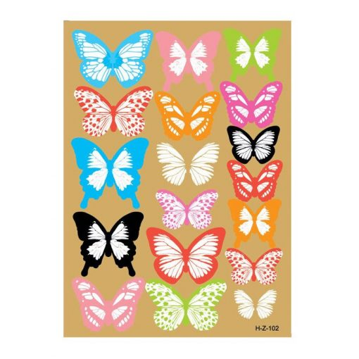 Dekorationsfjärilar 3D - 18 stycken på ark - färgglad