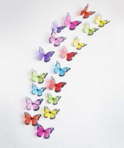 Dekorationsfjärilar 3D - 19 stycken på ark - Set 1