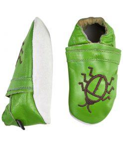Barntofflor i läder - Grön
