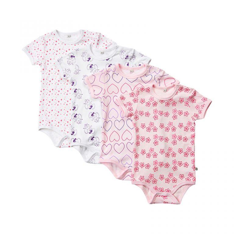 Bodies barn - 4 pack i olika färger - Pippi - rosa