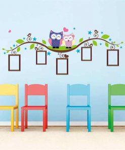 Väggdekor barn - Ugglor och fotoramar