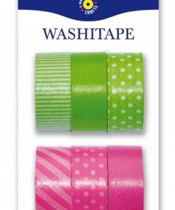 Washitejp 6-pack grön och rosa från Playbox