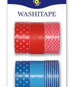 Washitejp 6-pack röd och blå från Playbox