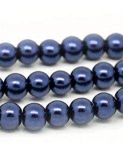 Glaspärlor på sträng 6 mm - Marinblå