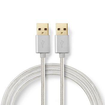 USB-kabel | USB 2.0 | USB-A Hane | USB-A Hane | 480 Mbps | Guldplaterad | 2.00 m | Rund | Flätad / Nylon | Aluminium | Kartong med täckt fönster