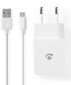 Väggladdare | 1x 2.1 A | Antal utgångar: 1 | Port typ: 1x USB-A | Micro USB (Lös) Kabel | 1.00 m | 10.5 W | Enkel Spänningsutgång