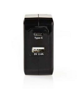 Väggladdare | Snabbladdnings funktion | 1x 2.4 A / 1x 3.0 A | Antal utgångar: 2 | USB-A / USB-C™ | Utan kabel | 24 W | Enkel Spänningsutgång